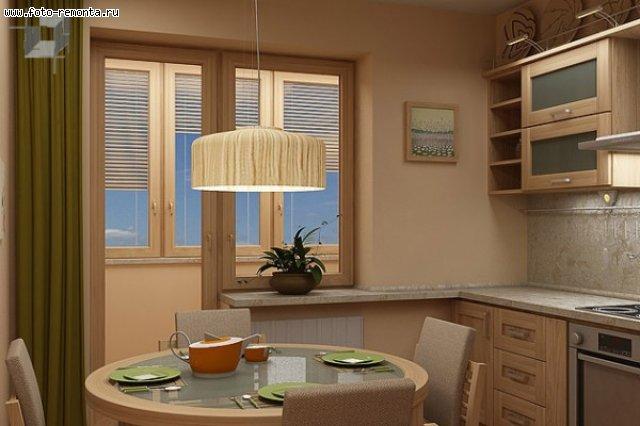 Кухня с дверью на балкон дизайн