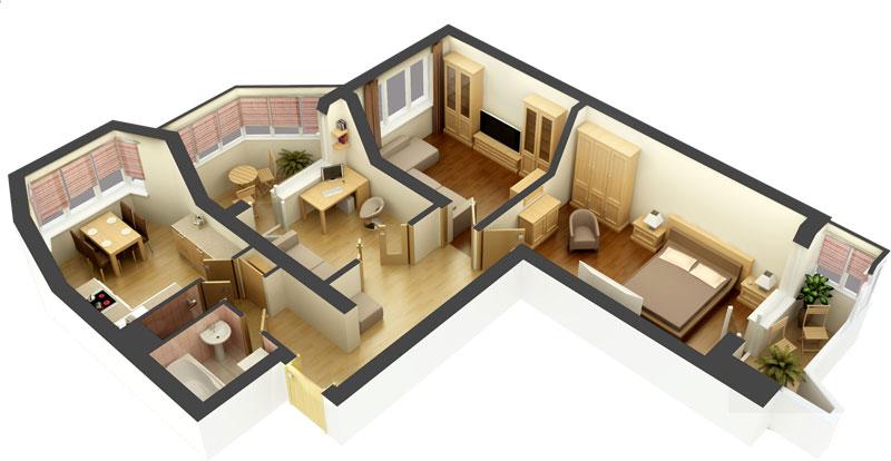 Планировка 3-комнатной