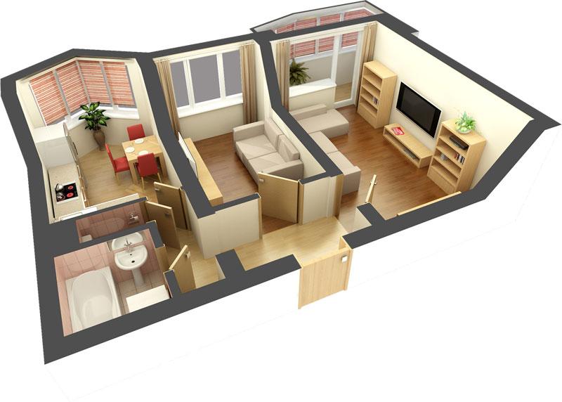 Проект 2-комнатной квартирй 3D