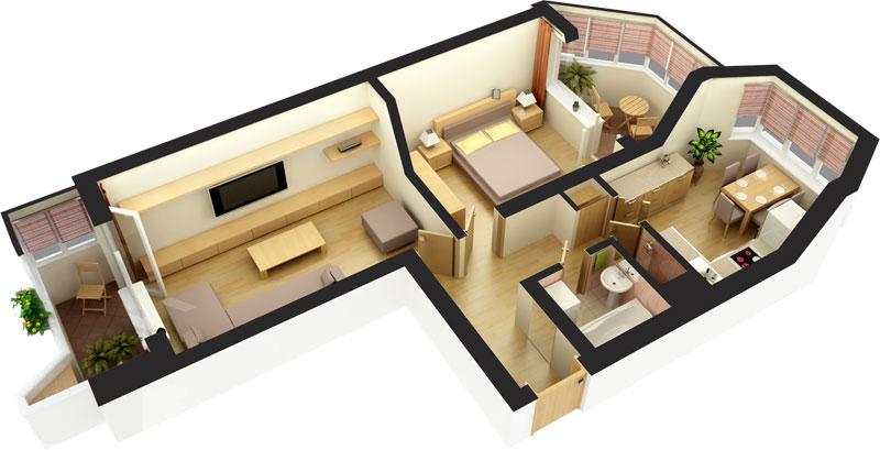 3-комнатной квартиры 3D