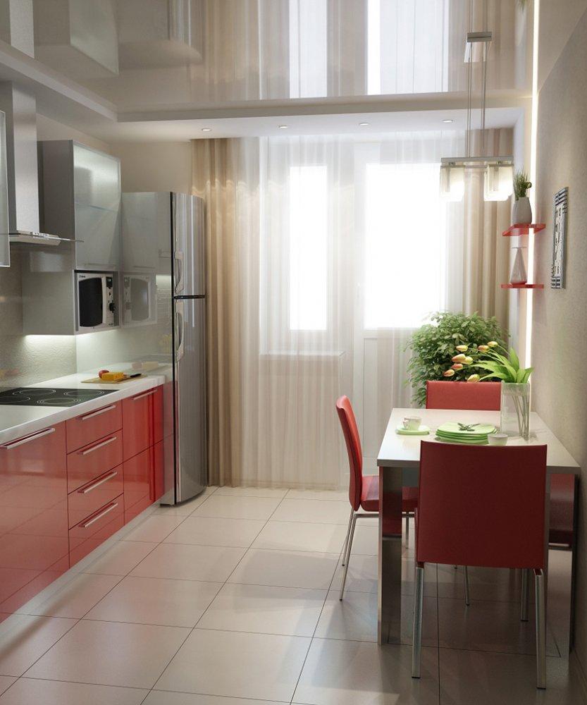 Кухня 9 кв.м с балконной дверью дизайн фото