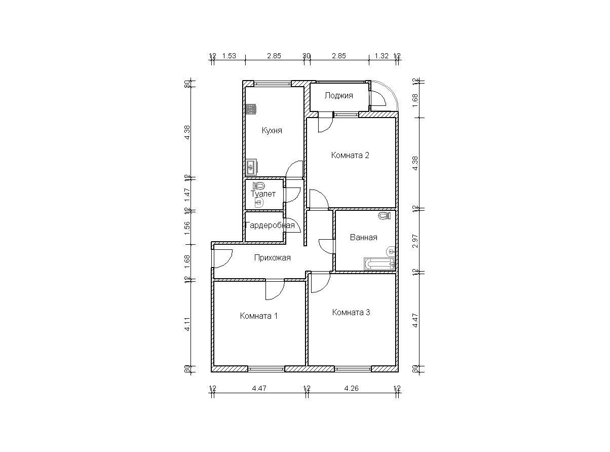Трехкомнатных квартир в домах серии п